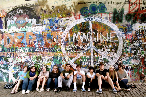 Students in Prague at the Lennon Wall