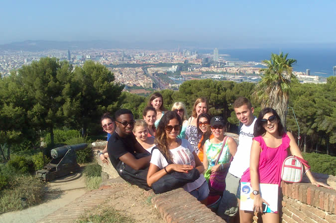 Students on the trip in Barcelona