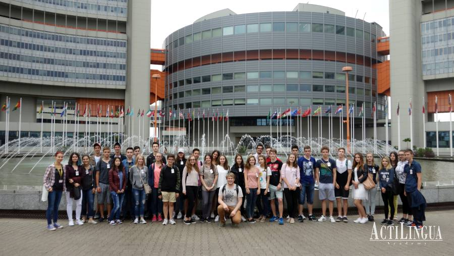 Students on a trip to UN