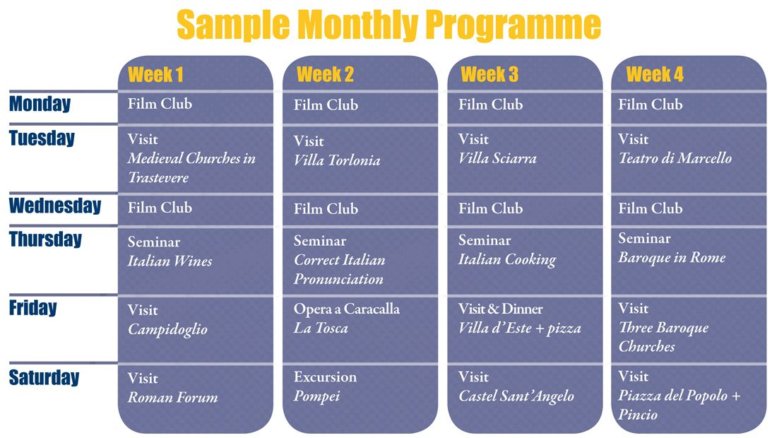 Sample Monthly Programme