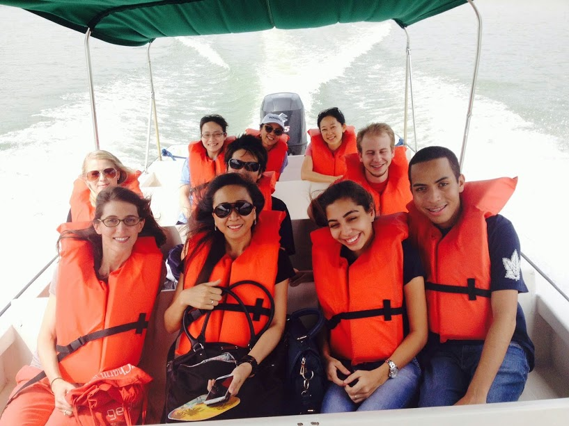 Students on a boat trip in Panama