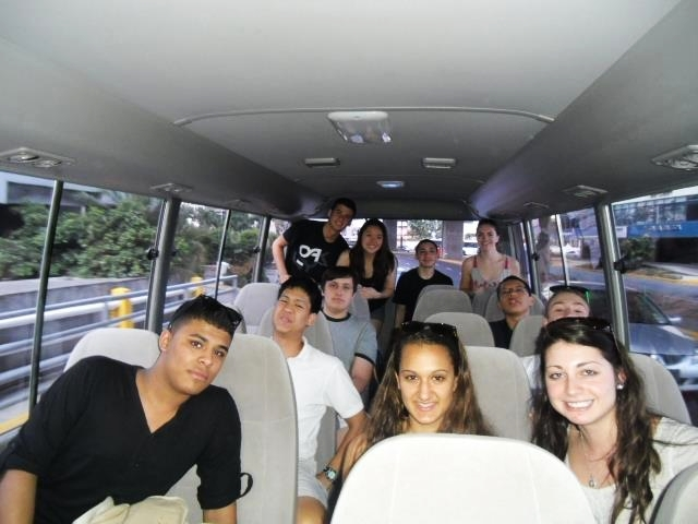 Teenager students on the trip