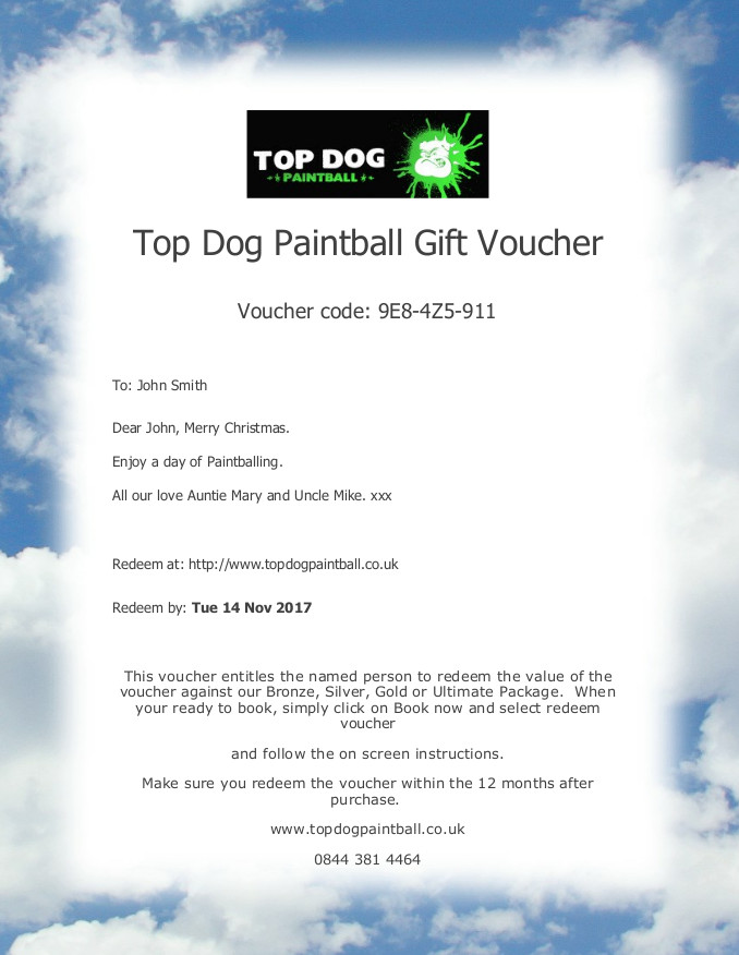 Top Dog Paintball Gift Vouchers